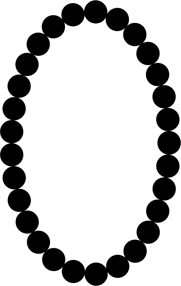 Necklace svg pearl. Pearls oval frame shape