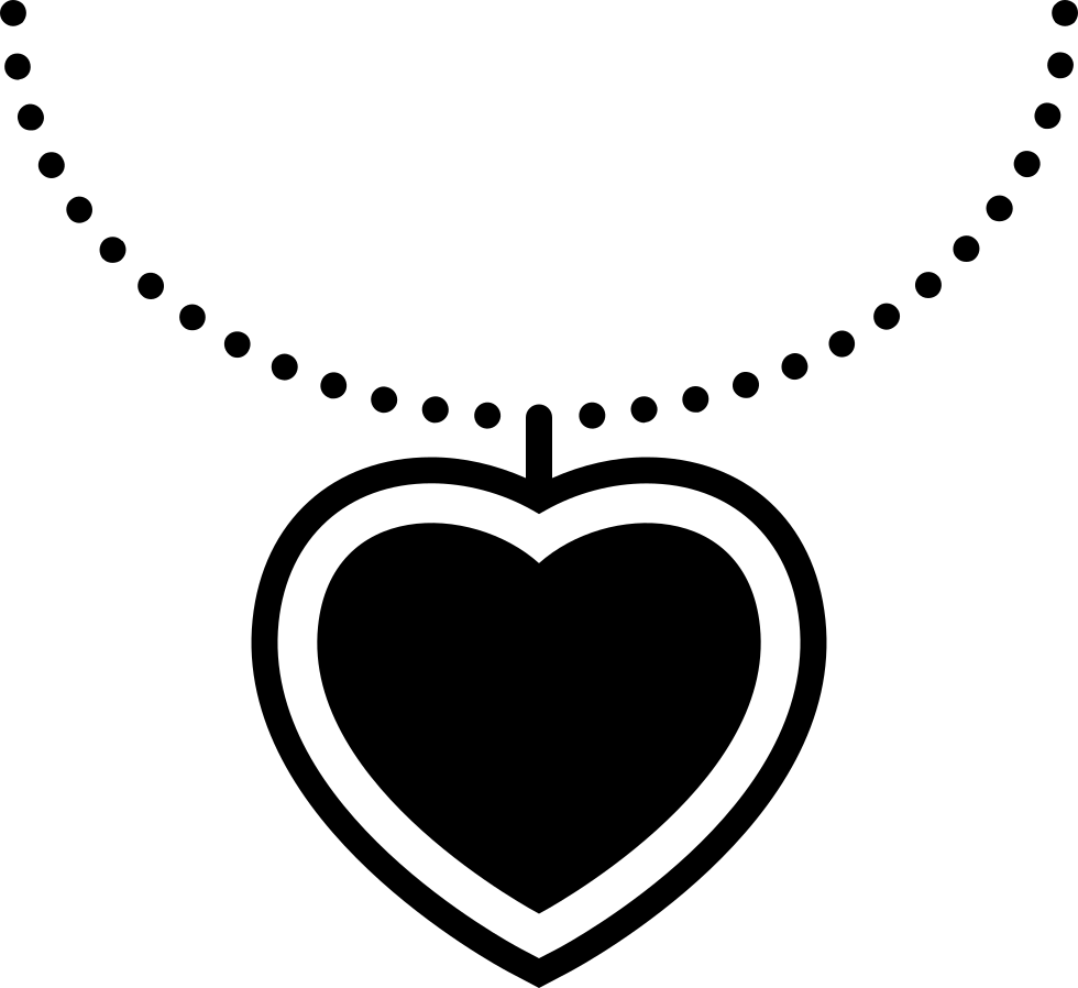 Necklace svg silhouette. Heart hanging of a