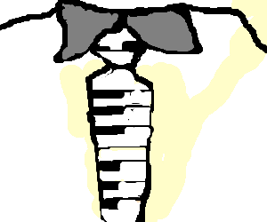 Necktie drawing. Piano keyboard by ted
