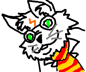 Necktie drawing harry potter. S cat wears a