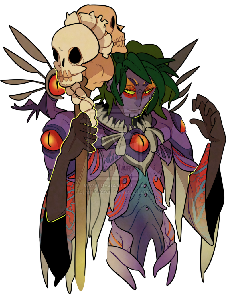 Necromancer drawing plant. Commission sylvari by whinecraft