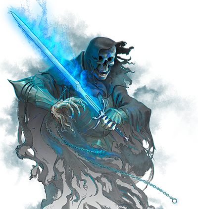 Necromancer drawing sword. Shades of once warriors