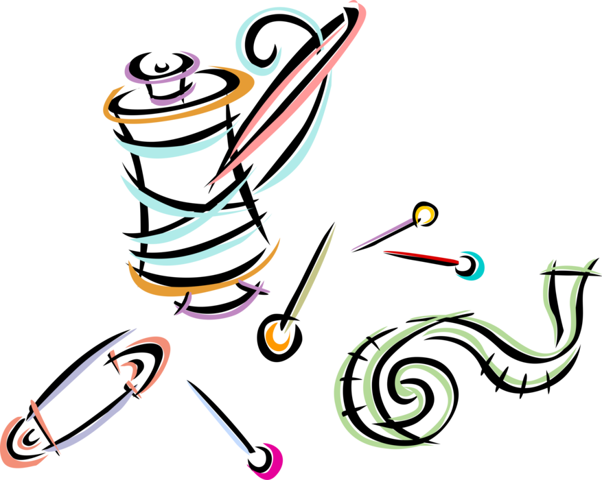 Pins vector. Sewing needle thread and