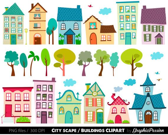 Neighbors clipart housing development. Houses clip art set