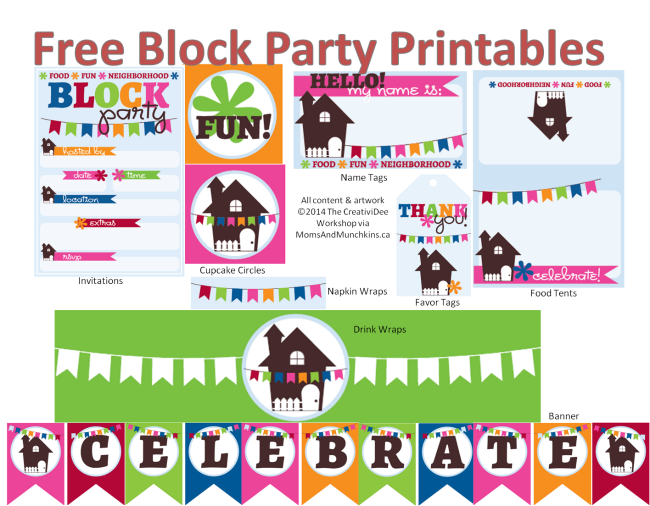 Neighbors clipart neighborhood party. Block printables free by