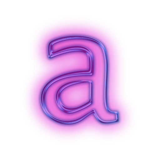 Neon alphabet png. Vector icon letter a