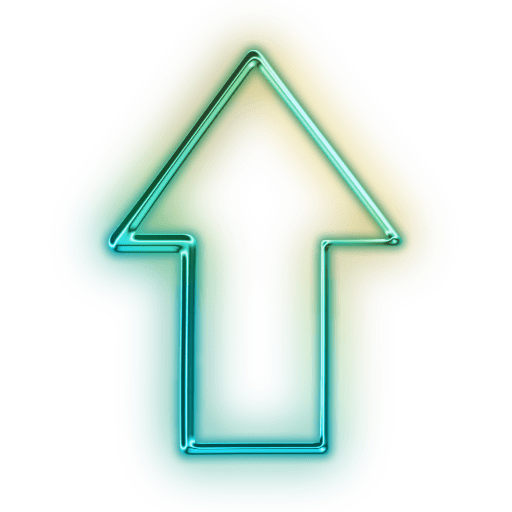Neon arrow png. Cropped glowing green icon