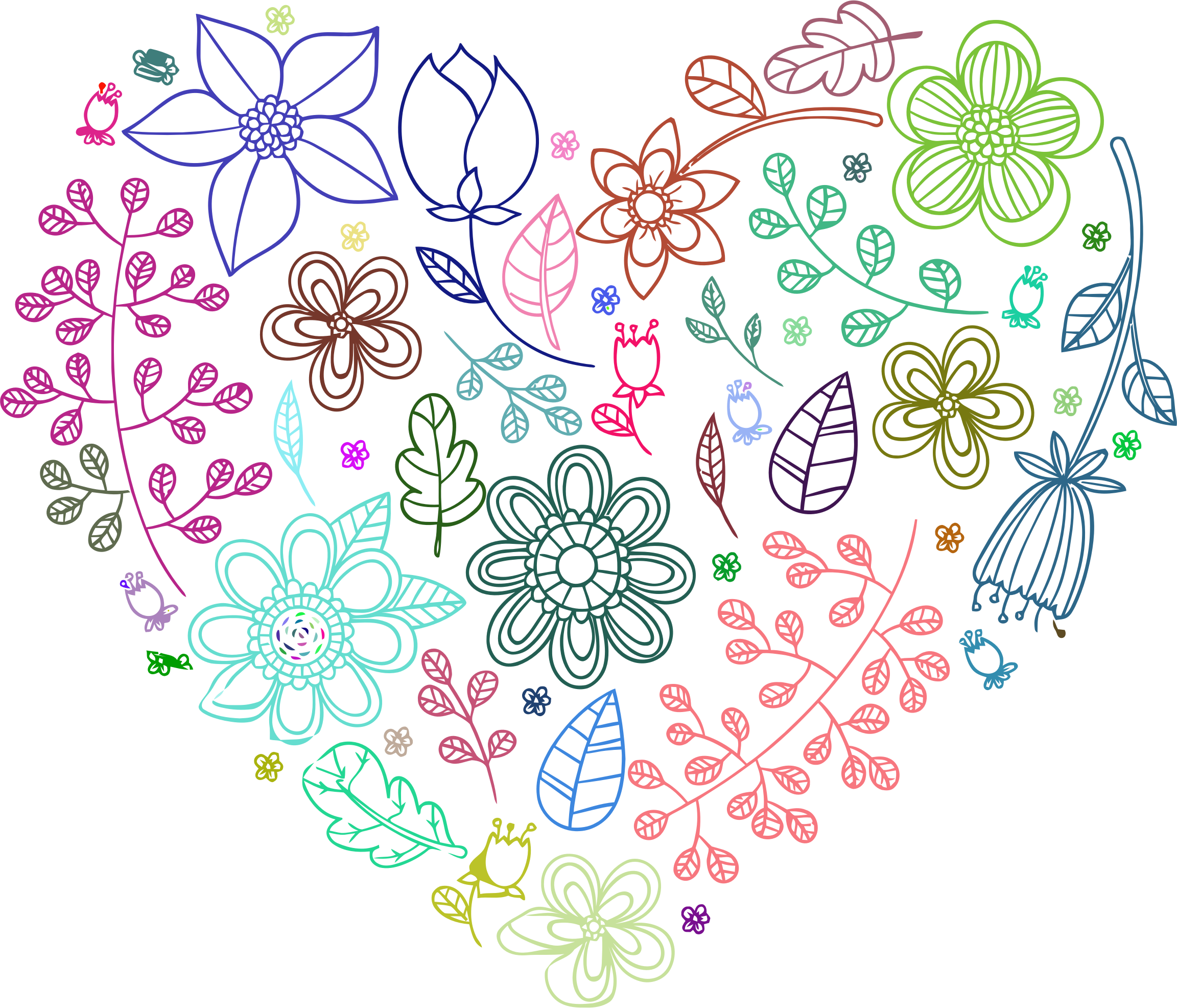 Neon background png. Prismatic floral heart no