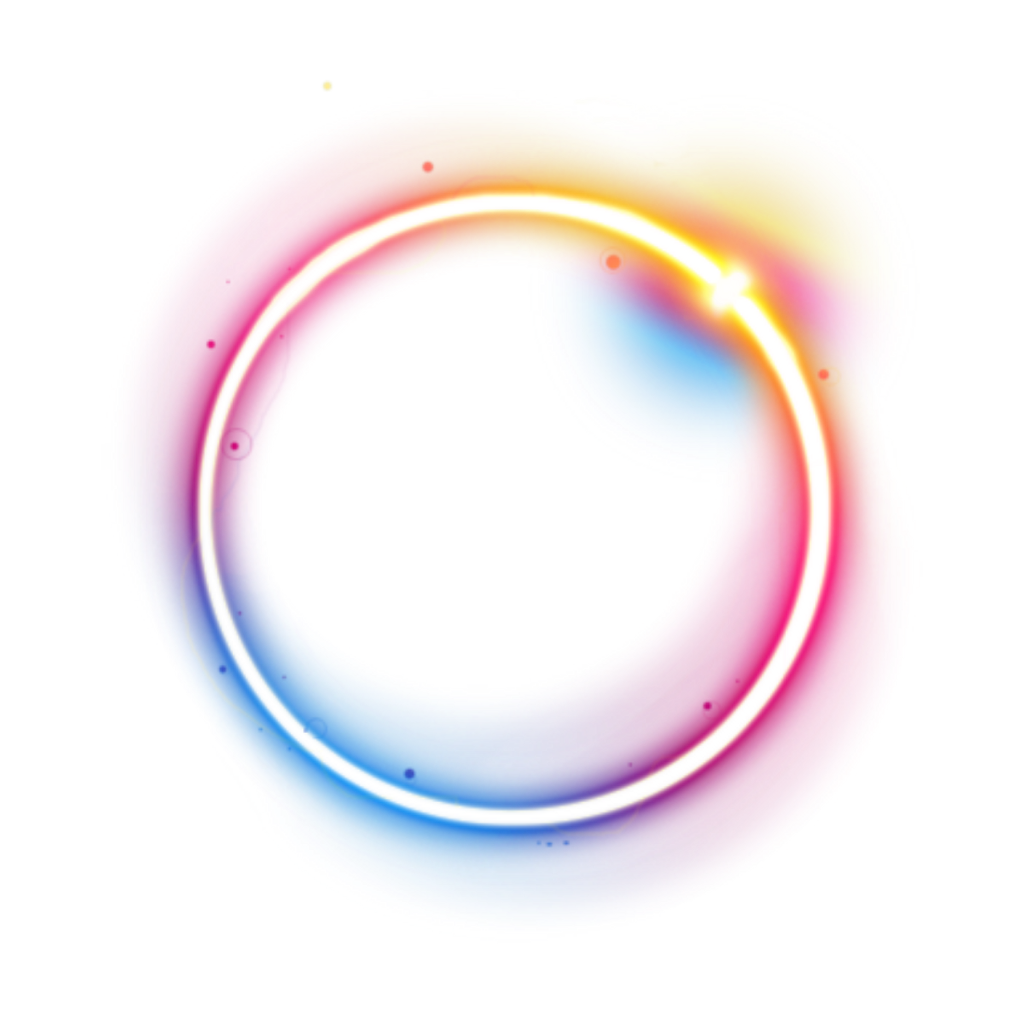 Neon circle png. Rainbow colorful galaxy frame