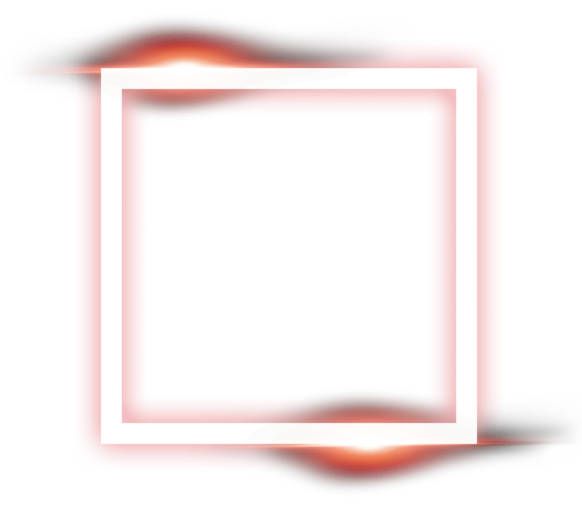 Neon frame png. Square light effect asno