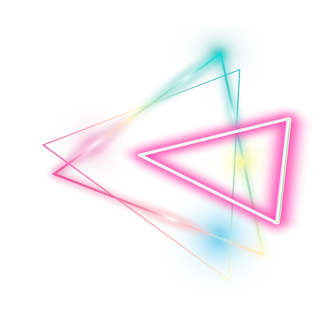 Neon glow png. Triangle geomatric colorful