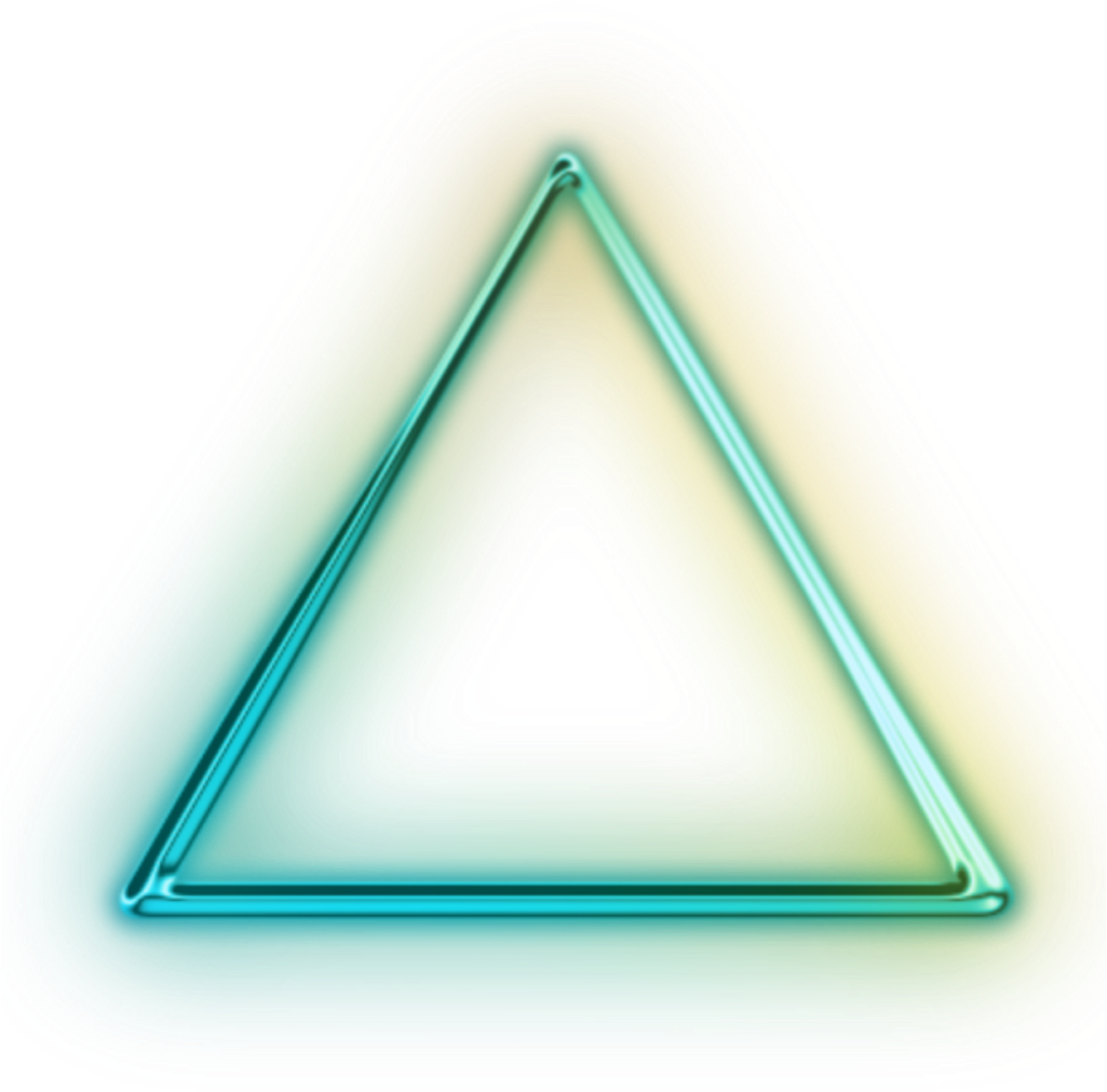 Neon transparent glowing triangle. Download png for picsart