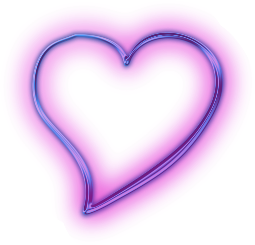 Neon heart png. Purple snapchat glowing