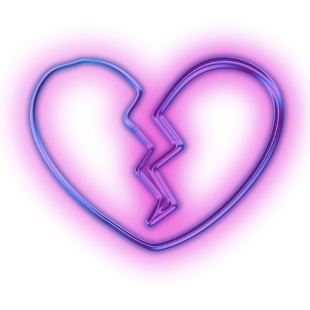 Neon heart png. Brokenheart sticker by jackie