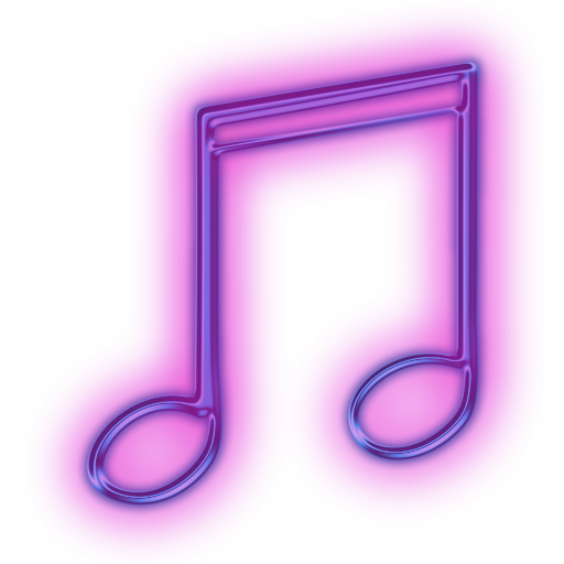 Neon icon png. Image glowing purple media