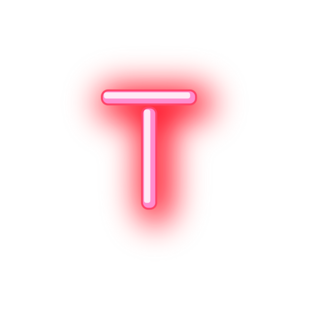 T transparent neon. Letter sticker by stickers