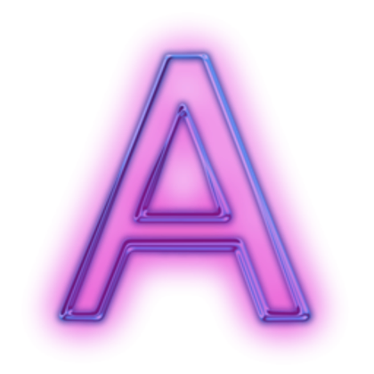 Neon letter png. Glowing purple icon alphanumeric