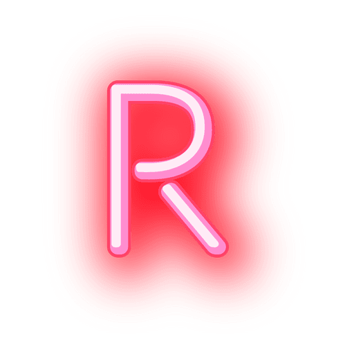 Transparent j neon. Letterhead red letter r