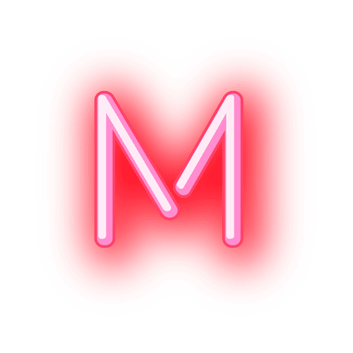 Transparent j neon. Letterhead red letter m