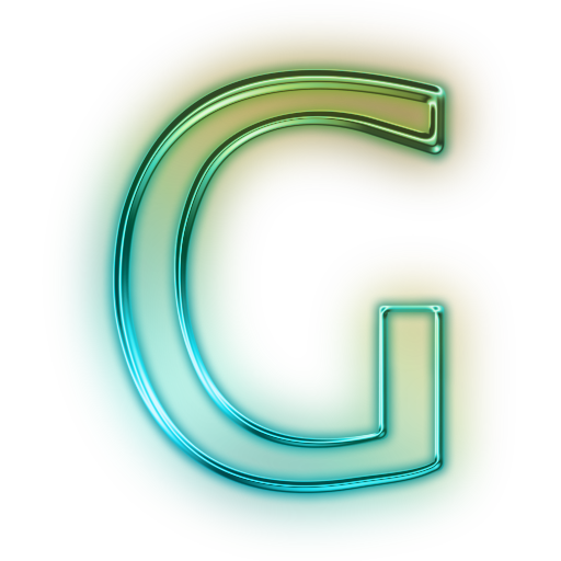 Neon letters png. Glowing green icon