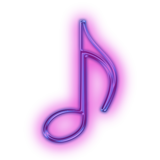 Neon music note png. Image glowing purple icon