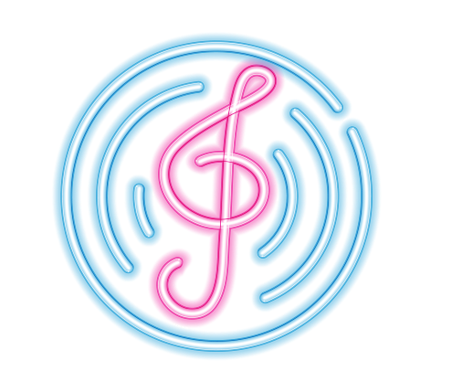 Neon music note png. Colorful luminous starlight lensflare