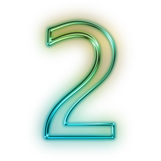 Neon numbers png. Glowing green icon