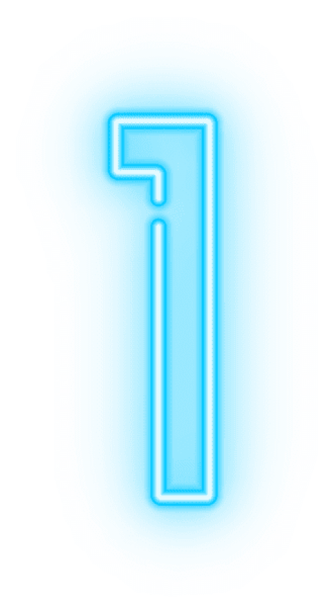 Neon numbers png. Number one transparent free