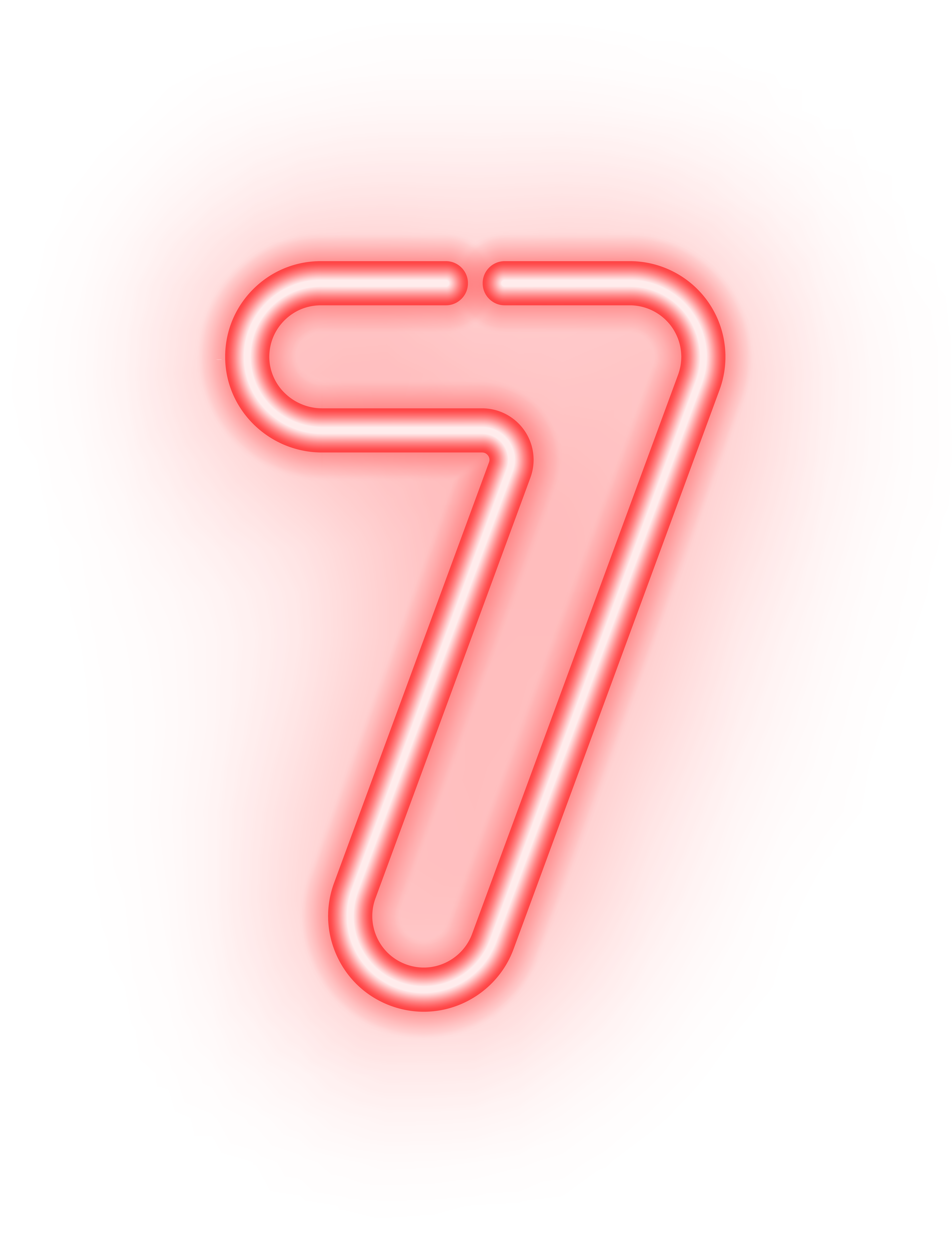 Neon numbers png. Number seven transparent image