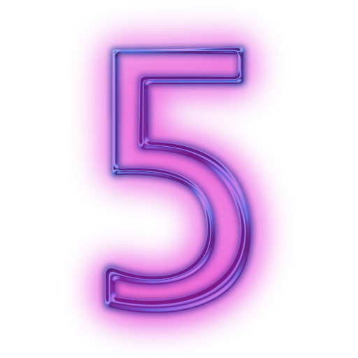 Neon numbers png. Glowing purple icon