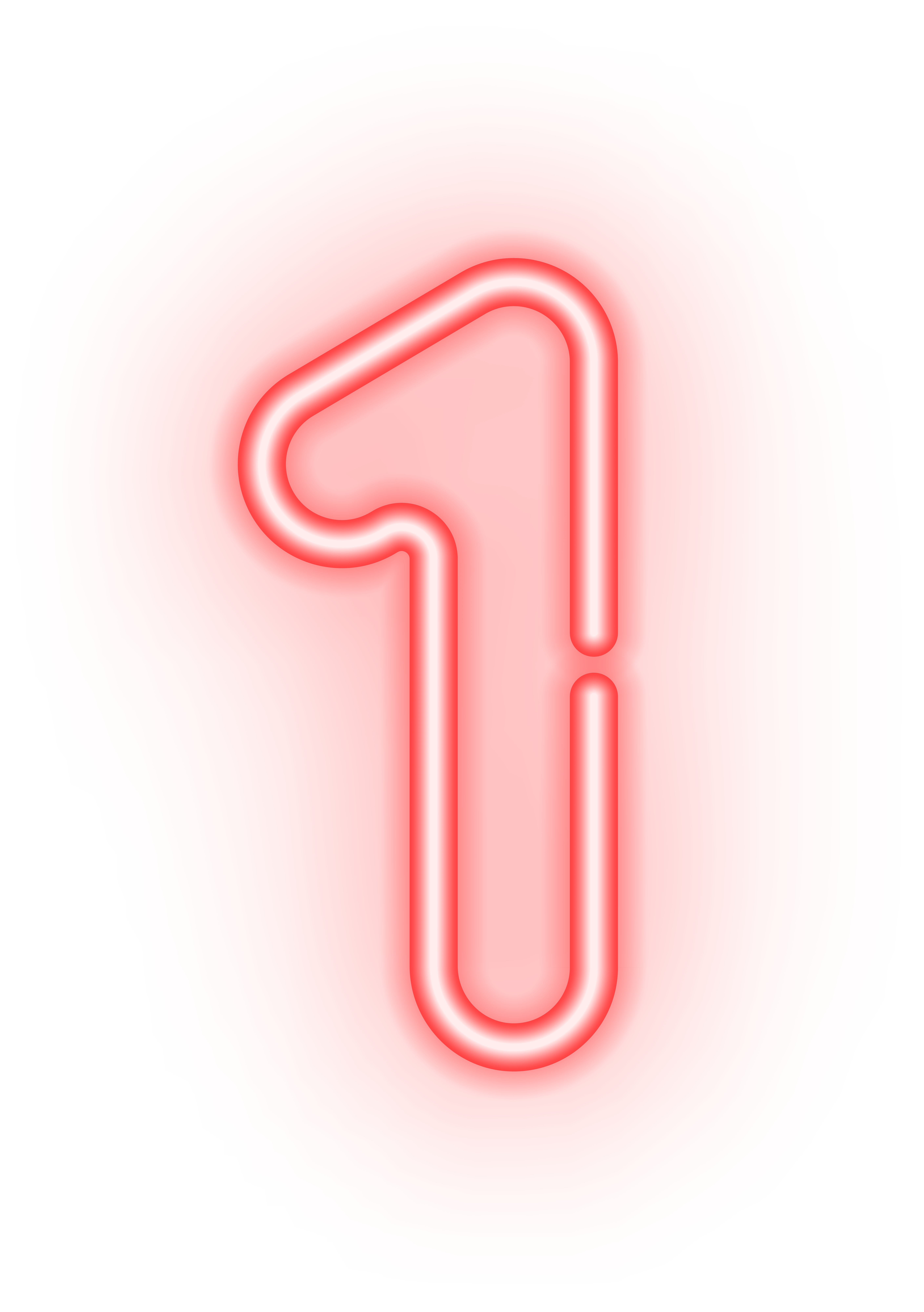 Neon numbers png. Number one transparent image