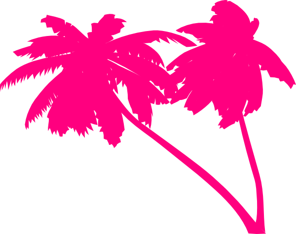 Neon palm tree png. Double pink trees clip