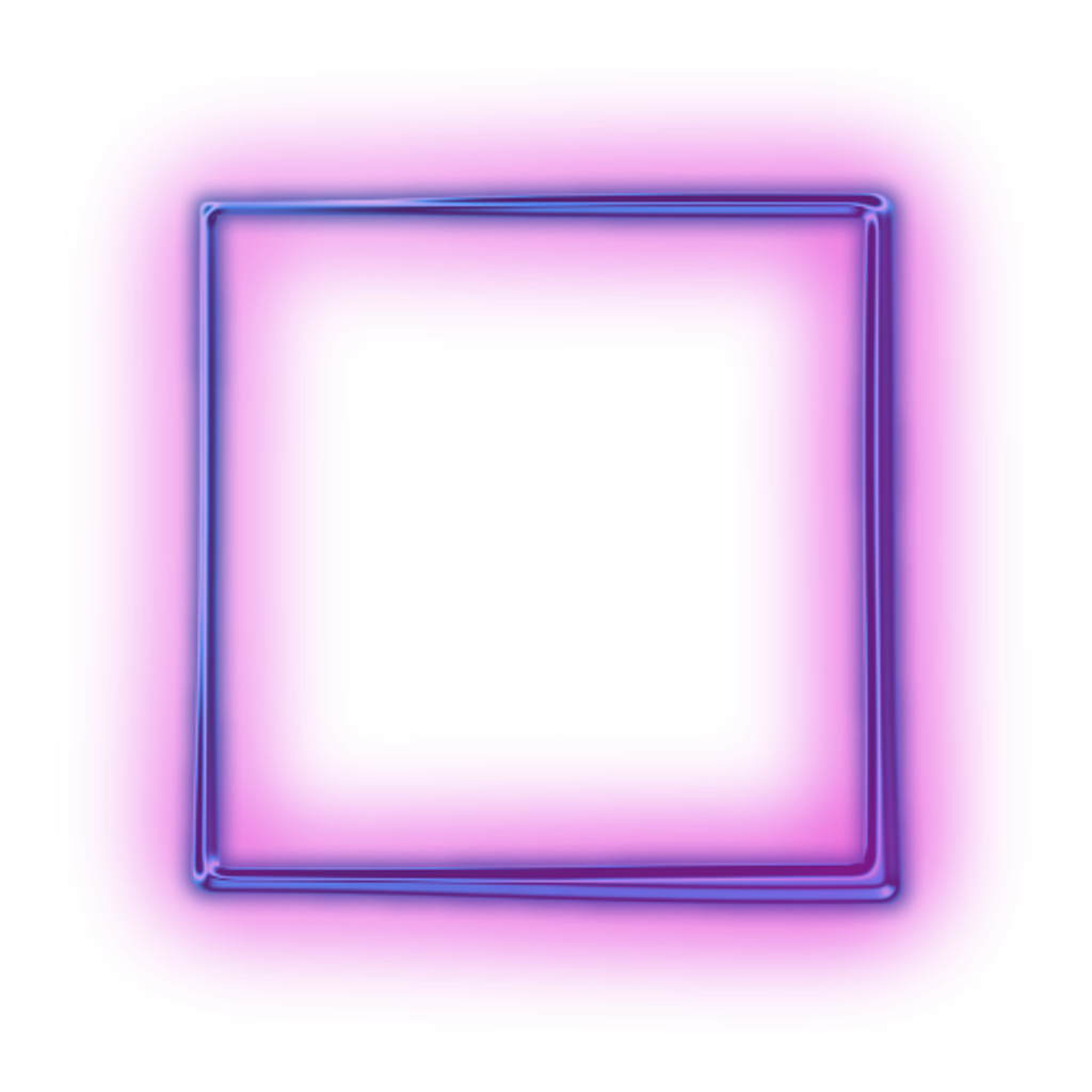 Neon square png. Purple shapes frame