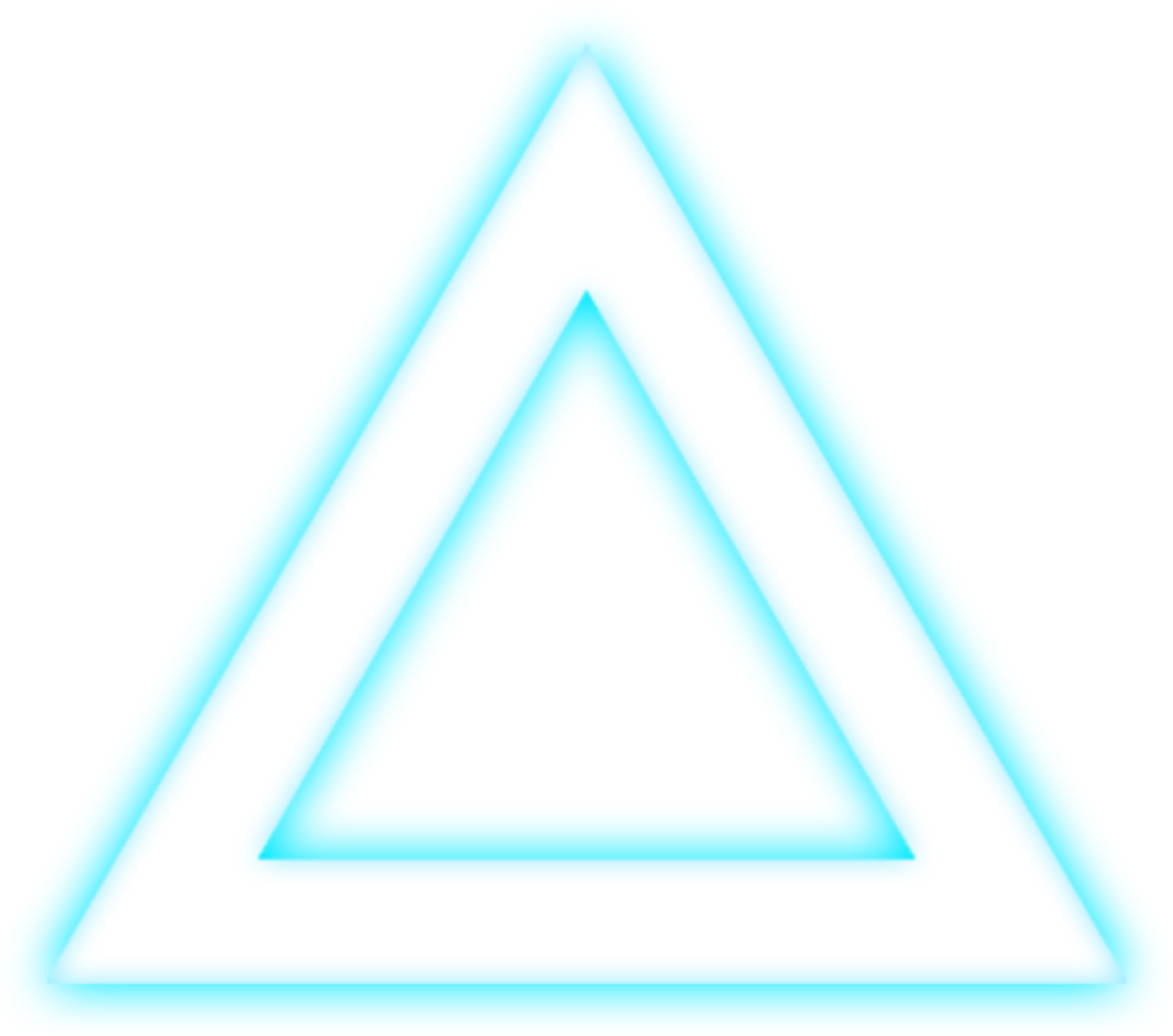 Neon transparent glowing triangle.