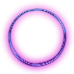 Neon transparent circle. Purple button icon tape