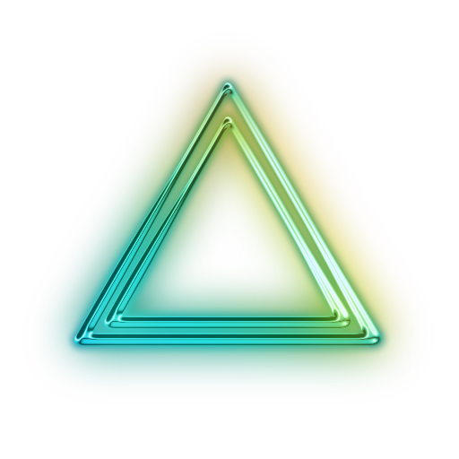 Neon transparent glowing triangle. Index of floorstransparent mar
