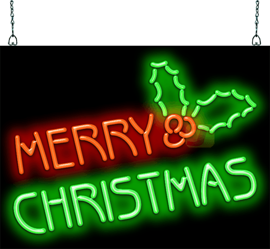 Transparent neon merry christmas. Sign hs jantec