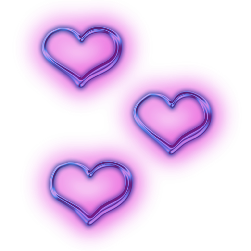 transparent neon purple heart