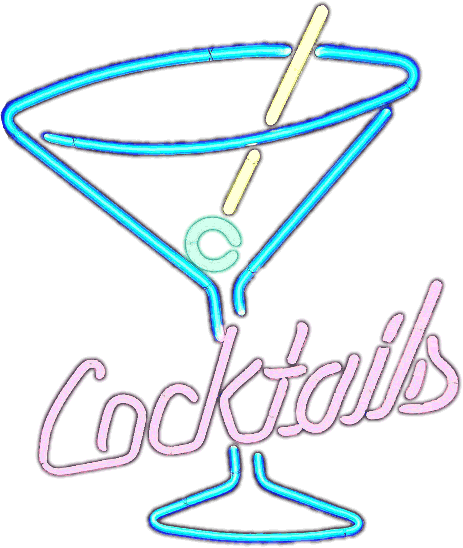 Transparent neon white background. Fichier cocktails sign on