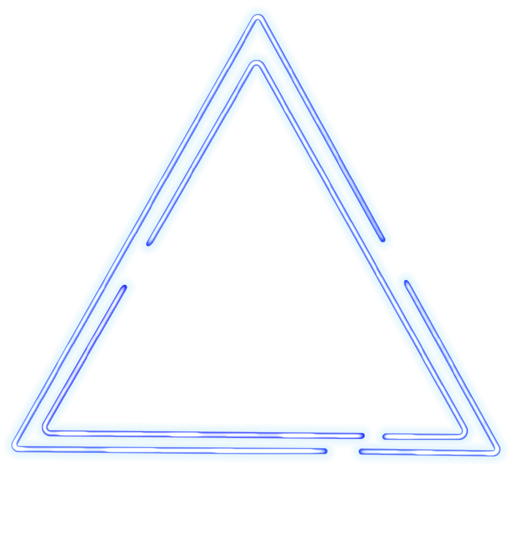 Neon transparent glowing triangle. Rg design illustration ripple
