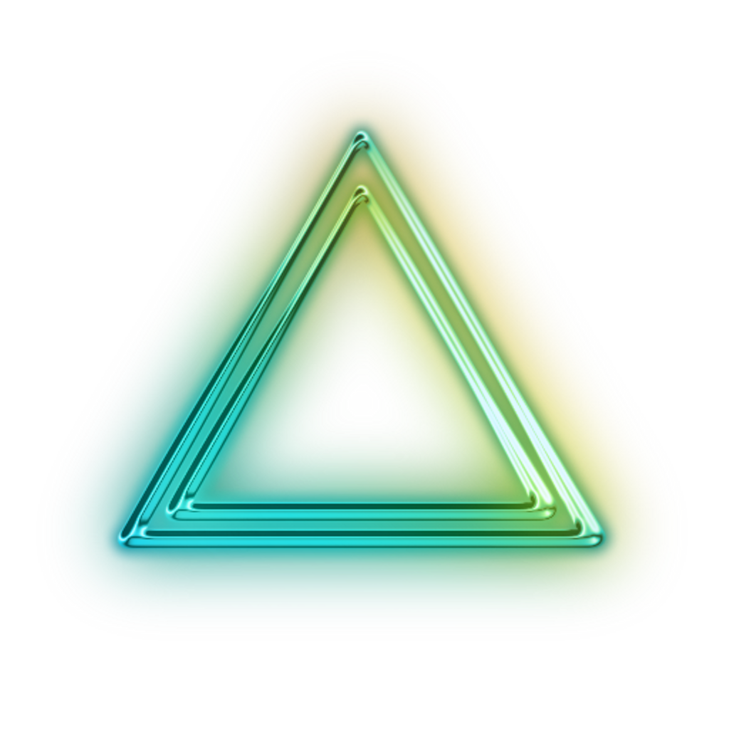 Neon transparent glowing triangle. Green metallic shapes