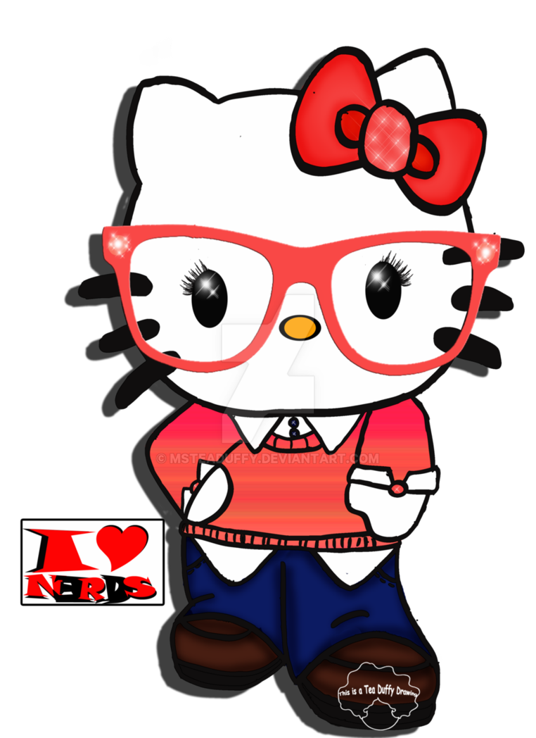Nerd hello kitty png. I love nerdy by