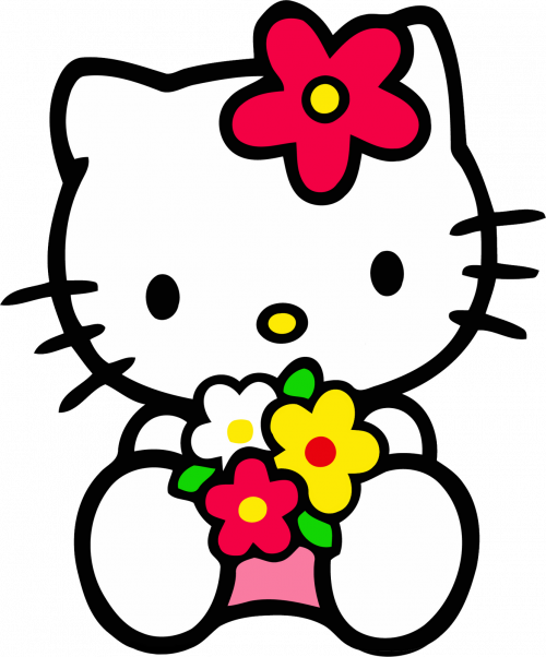 Nerd hello kitty png. Clipart with flower in