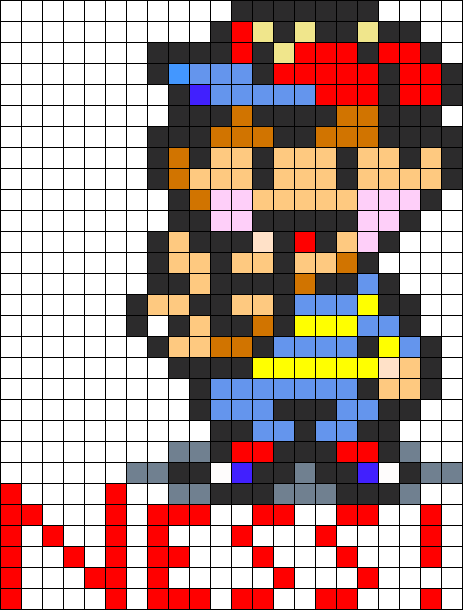 Ness sprite png. From earthbound perler bead