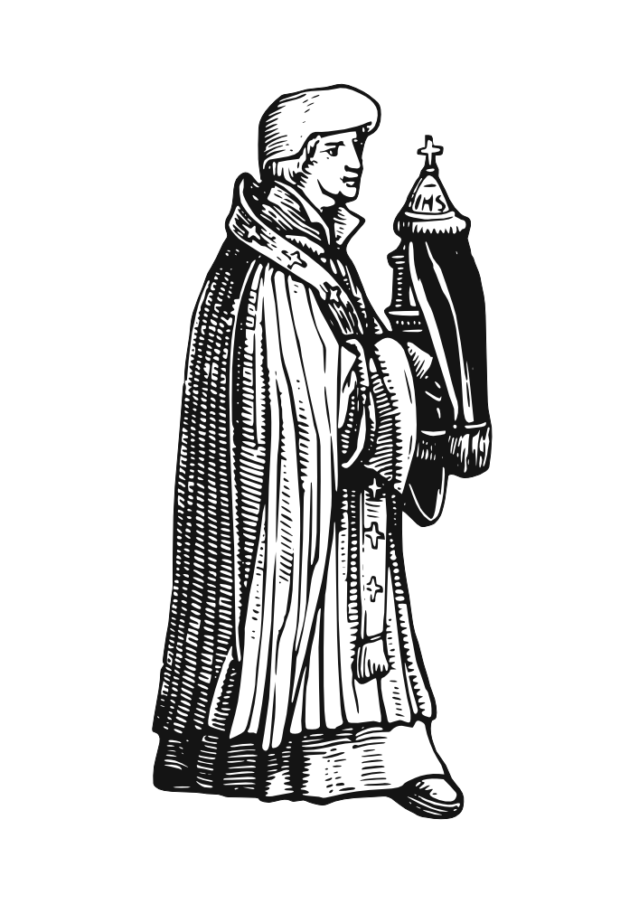 Merchant drawing clip art. Medieval priest cliparts free