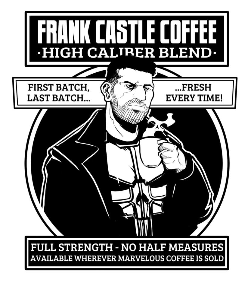 Netflix drawing poster. Frank castle coffee by