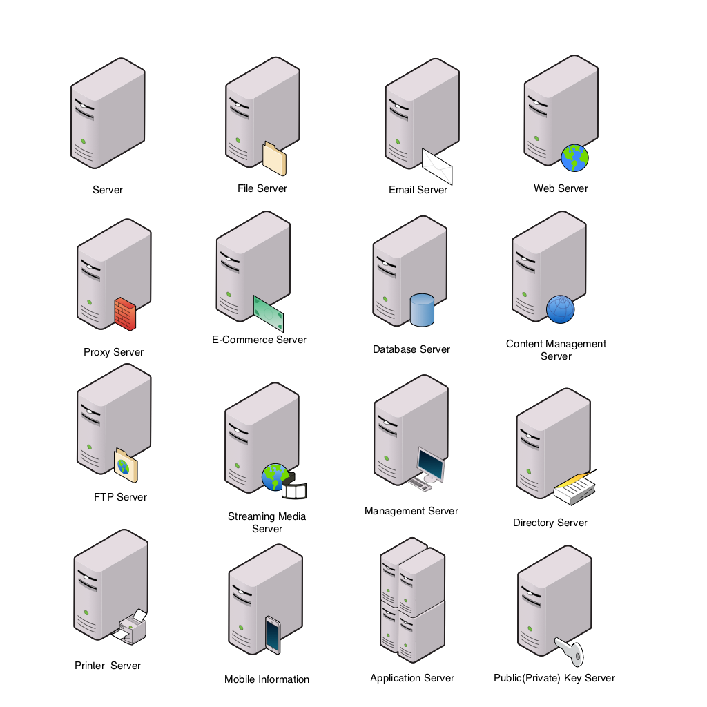 Networking drawing computer network. Ten ouch diagram servers
