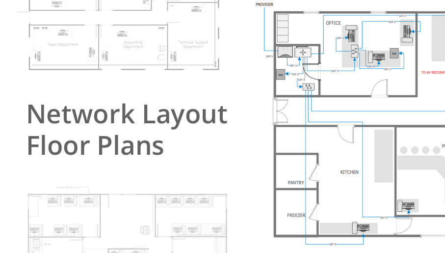 Networking drawing restaurant. Network layout floor plans
