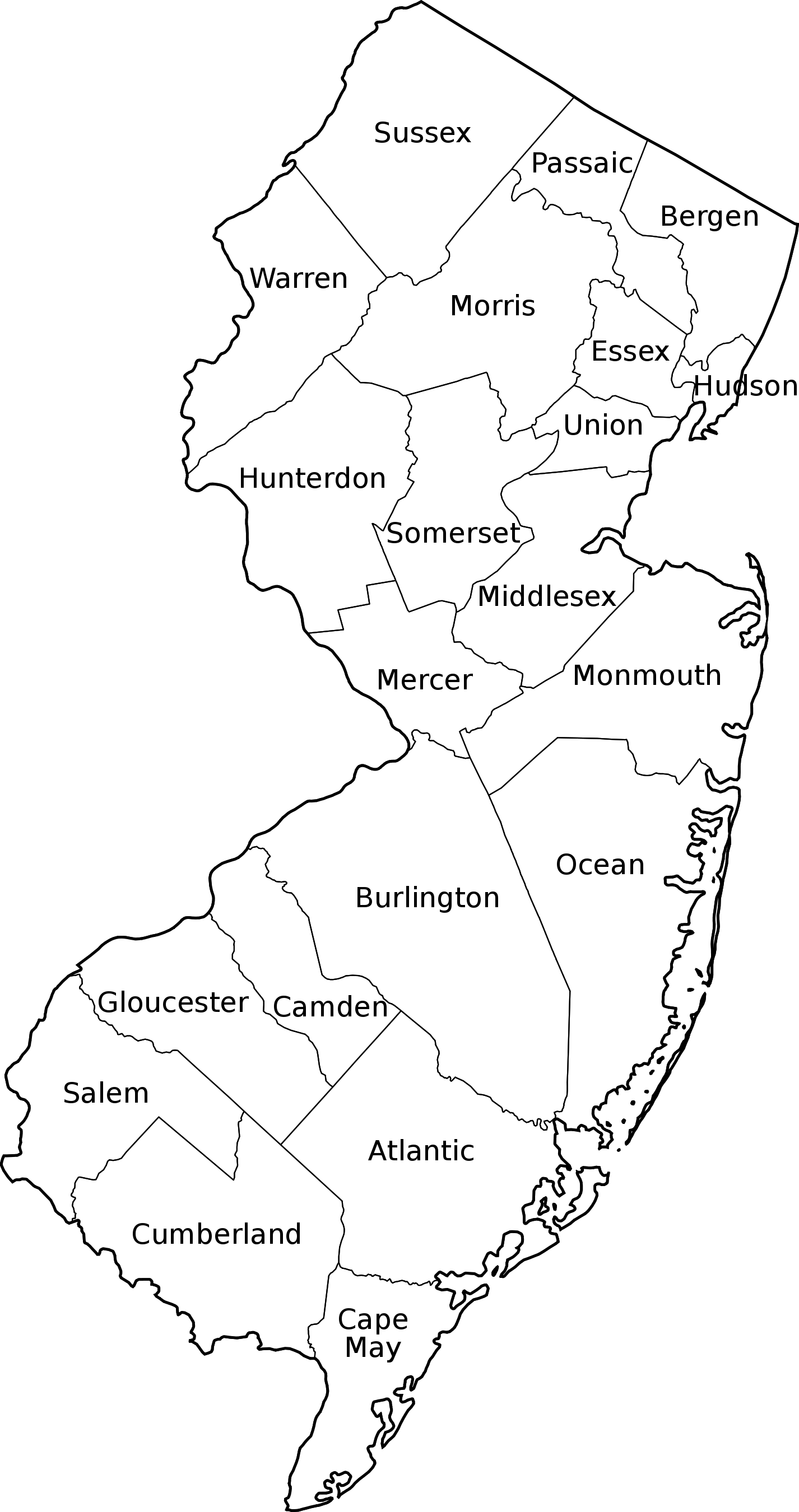 New jersey outline png. File counties labeled svg