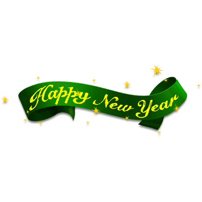 New ribbon png. Happy year green transparent